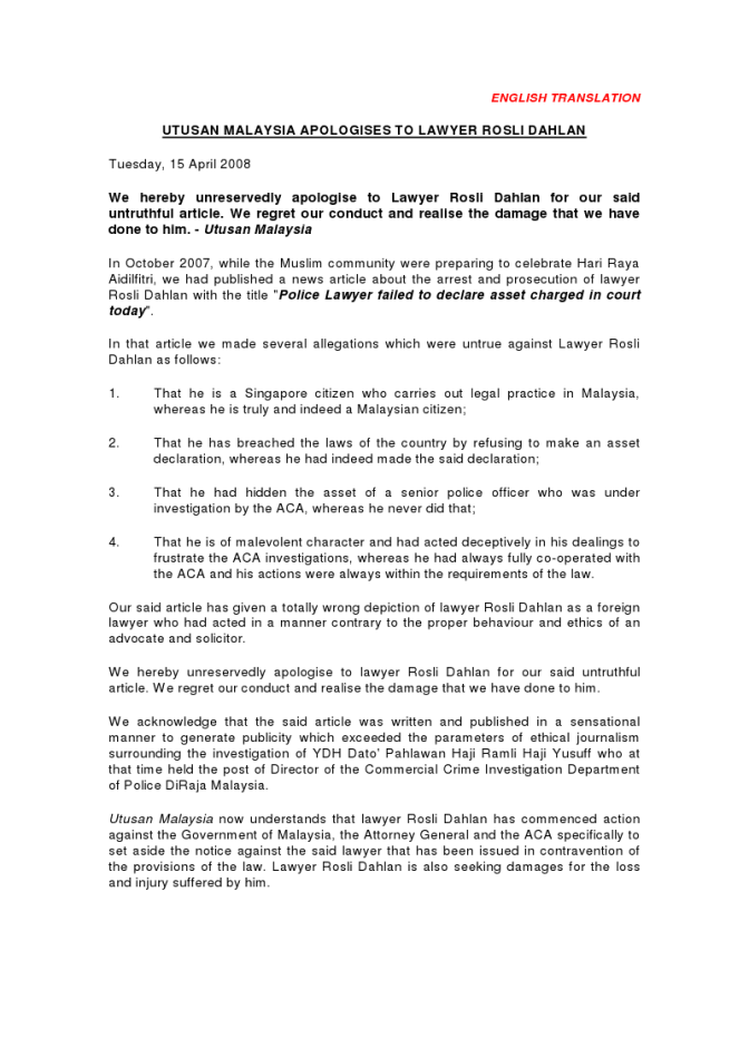 Utusan Malaysia Apologises