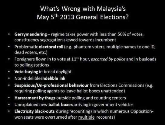 An image being shared amongst Malaysian Facebookers outlining the various acts of electoral fraud.