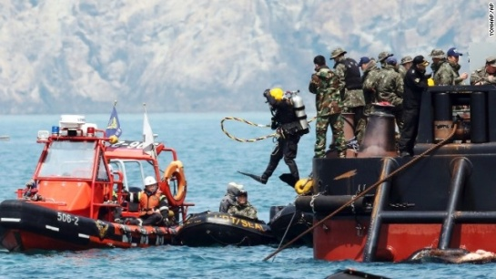 The Sewol ferry, weighing almost 7,000 tons, sank on a routine trip from the port of Incheon, near Seoul, to the southern holiday island of Jeju. Investigations are focused on human error and mechanical failure.