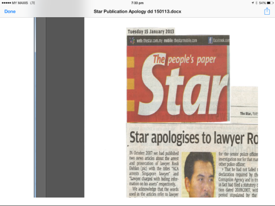 The Star's Apology