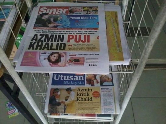 Read your news carefully. Finally, we have been able to remove Khalid Ibrahim who suffered from delusions of grandeur. It is time to move forward and give the new Menteri Besar our full support. The tasks before YAB Azmin Ali are daunting considering the extent of the damage done to Pakatan Rakyat by his predecessor.
