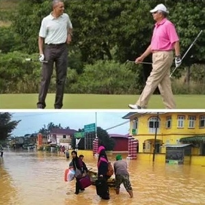 Golf with Obama, Floods in Malaysia