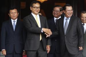 Hun Sen with Sam Rainsy