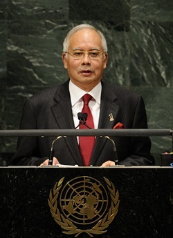 Malaysia's Prime Minister Dato' Sri Mohd Najib Bin Tun Haji Abdul Razak addresses the 65th General Assembly at the United Nations headquarters in New York, September 27, 2010. AFP PHOTO/Emmanuel Dunand