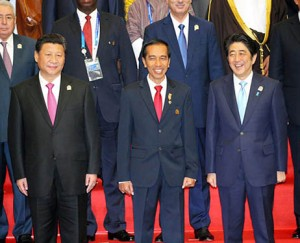 Xi and Abe with Jokowi