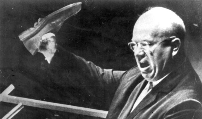 Image result for Nikita Khrushchev at UN with shoe